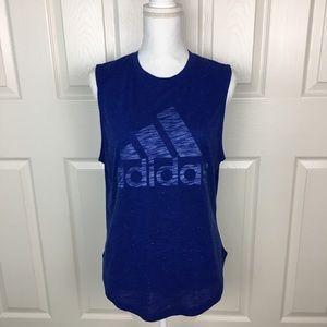 New Adidas Blue Muscle Tee Shirt Sleeveless Top S